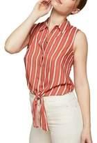 Miss Selfridge Sleeveless Striped Tie Waist Shirt