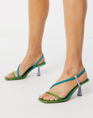 ASOS DESIGN Hold Me aysmmetric mid-heeled sandals in multi