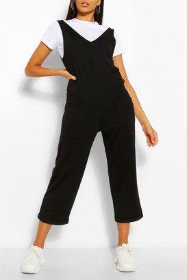 boohoo Soft Loopback Slouch Overall With Pockets
