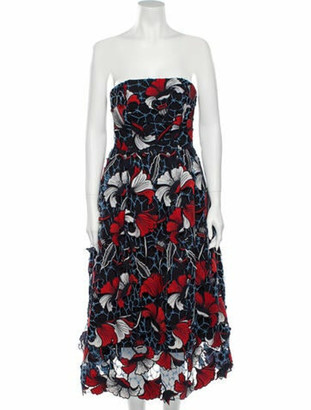 Nicholas Floral Print Midi Length Dress Blue