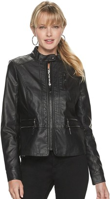 Apt. 9 Petite Moto Zip Pleather Jacket