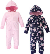 Hudson Baby Girls' Rompers Navy - Navy Rose & Pink Stripe Fleece Hooded Playsuit Set - Infant
