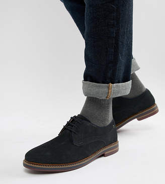 Base London Wide Fit Blake derby shoes in navy suede