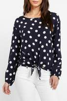 Three Dots Tie Front Blouse