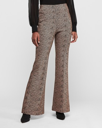 Express Super High Waisted Jacquard Stretch Flare Pant