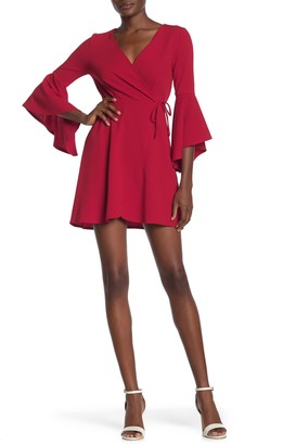 Love Squared Surplice Faux Wrap Bell Sleeve Mini Dress
