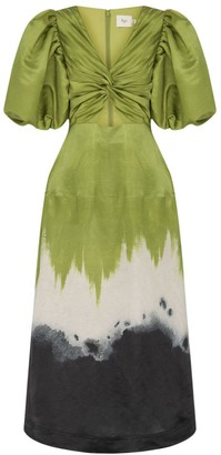 Aje Ombre Silk & Linen Midi Dress