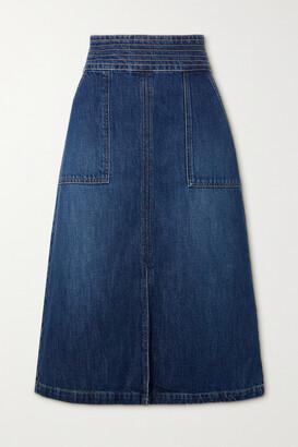 Frame Trapunto Denim Midi Skirt