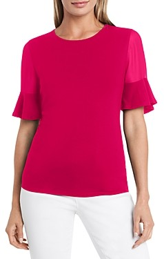 Vince Camuto Mixed Media Flutter Sleeve Top