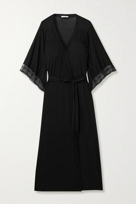 Eberjey Antoinette Lace-paneled Stretch-modal Robe - Black