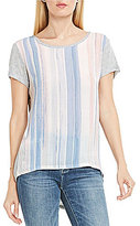 Vince Camuto Two By Short Sleeve Paint Wash Stripe Mix Media Tee