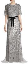 Monique Lhuillier Short-Sleeve Sequined Capelet Gown, Silver
