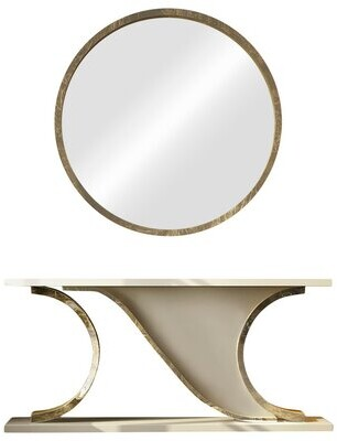 """Everly Quinn Laivai Solid Wood Console Table and Mirror Set Size: 29.5"""" H x 59"""" W x 15.6"""" D"""