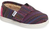 Toms Classic - Tiny Herringbone Faux Shearling Lined Slip-On (Baby, Walker & Toddler)