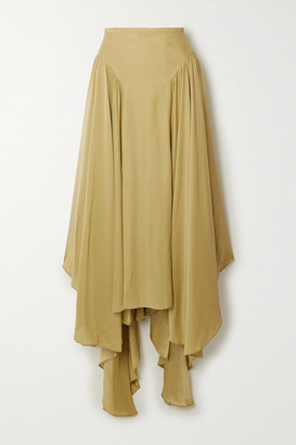 TOVE - Arbor Asymmetric Silk-crepon Maxi Skirt - Army green