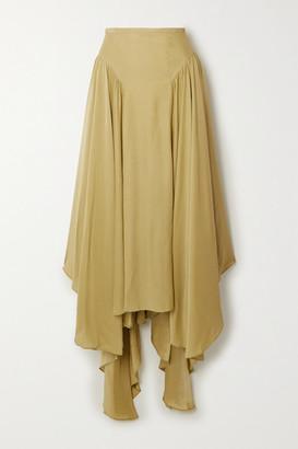 Tove TOVE - Arbor Asymmetric Silk-crepon Maxi Skirt - Army green