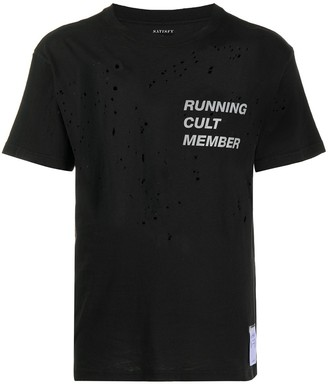 Satisfy paint-splatter crew-neck T-shirt