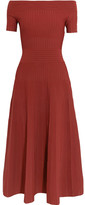 Barbara Casasola Off-the-shoulder Paneled Stretch-knit Midi Dress - Merlot