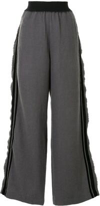 UMA WANG Velour Stripe Wide-Leg Trousers