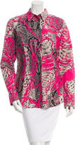 Just Cavalli Snakeskin Print Button-Up Top