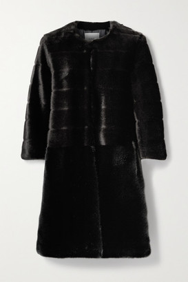 FAZ NOT FUR Omega Two-tone Faux Fur Coat - Black