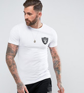 Majestic Longline Raiders T-shirt In Muscle Fit Exclusive To Asos