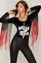 Jaded London Love and Hate Velvet Bodysuit