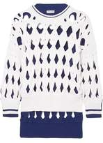 Sonia Rykiel Oversized Two-tone Macrame Wool-blend Sweater