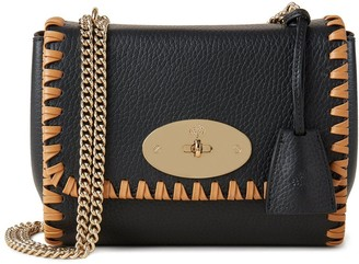 Mulberry Top Handle Lily Black Heavy Grain With Braided Edge