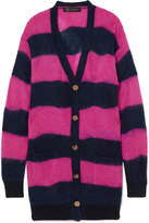 Versace Oversized Striped Textured-knit Cardigan - Magenta
