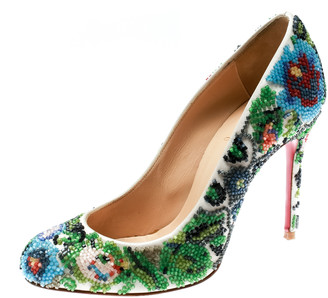 Christian Louboutin Multicolor Hand Beaded Satin Sissi Pumps Size 36.5