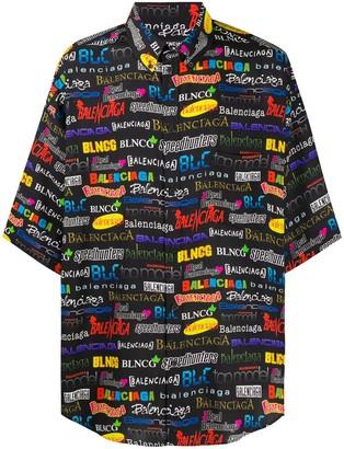 Balenciaga Logo Print Oversized Shirt