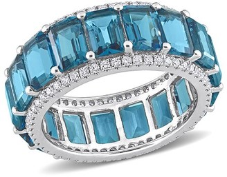 Rina Limor Fine Jewelry 14K 12.55 Ct. Tw. Diamond & Topaz Eternity Ring