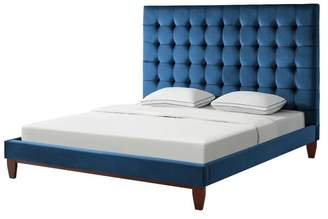 Inspired Home Baldwin Button Tufted Platform Bed, Navy Velvet, Queen