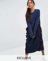 Monki Ruffle Contrast Sweat Dress