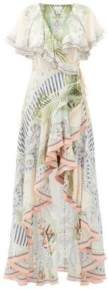 Camilla Beach Shack Ruffled Silk Wrap Dress - White Print