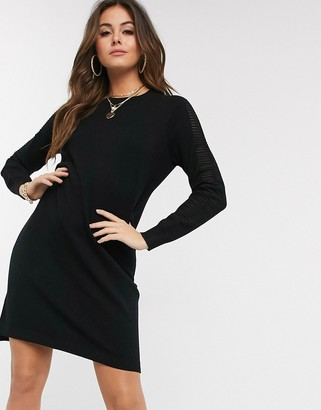 G Star G-Star knit sweater dress with sheer detail-Black