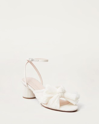 Loeffler Randall Dahlia Bow Low Heel with Ankle Strap Vegan Pearl