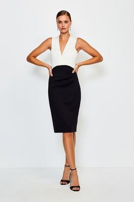 Karen Millen Italian Jersey Plunge Neck Pencil Dress