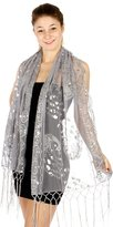 Sheer Delights Sheer Peacock & Heart Sequin Fringed Evening Wrap Shawl for Prom Wedding Formal