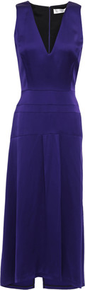Victoria Beckham Asymmetric Satin-crepe Midi Dress