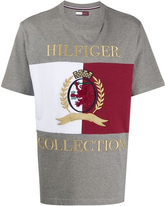 Tommy Hilfiger colour block logo embroidered T-shirt