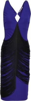 Roberto Cavalli Open-back Fringed Ponte Dress