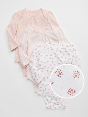 Gap Baby First Favorite Floral Long Sleeve Bodysuit (3-Pack)