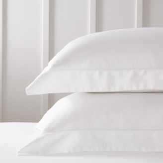 The White Company Richmond Oxford Pillowcase with Border - Single, White, Large Square