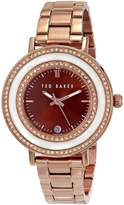 "Ted Baker Women's TE4107 ""Vintage Glam"" Rose-Gold Tone Stainless Steel Rhinestone-Accented Watch"