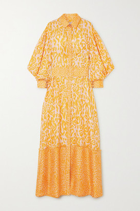 RALPH & RUSSO Belted Frayed Leopard-print Silk-twill Maxi Shirt Dress - Yellow