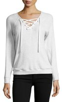 Velvet Billow Lace-Up Rib Top, Gray