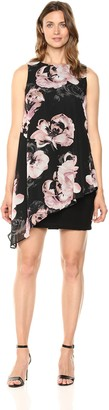 SL Fashions Women's Sleeveless Printed Asymmetric Chiffon Overlay Dress