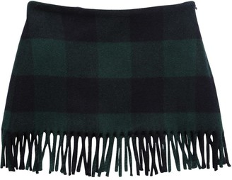 Il Gufo Check Wool Blend Felt Skirt